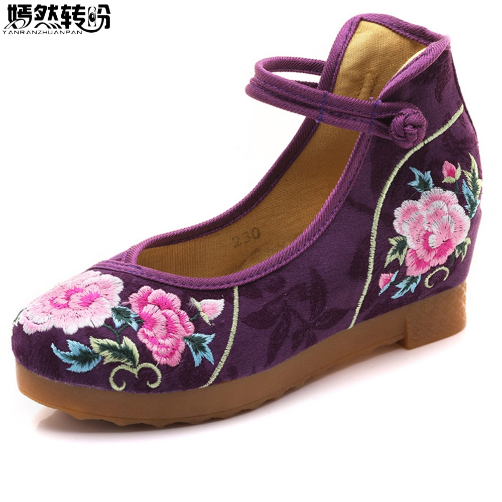 Chinese Women Shoes Flock Cotton Floral Embroidered Flat Platforms Thick Bottom Mid Top Ankle Strap Ladies Embroidery Shoes custom wall papers home decor flamingo sea 3d wallpaper murals tv background kitchen study bedroom living room 3d wall murals
