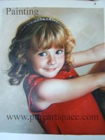 Custom Top quality kid portrait oil painting hand portrait oil painting from photo gifts for you family