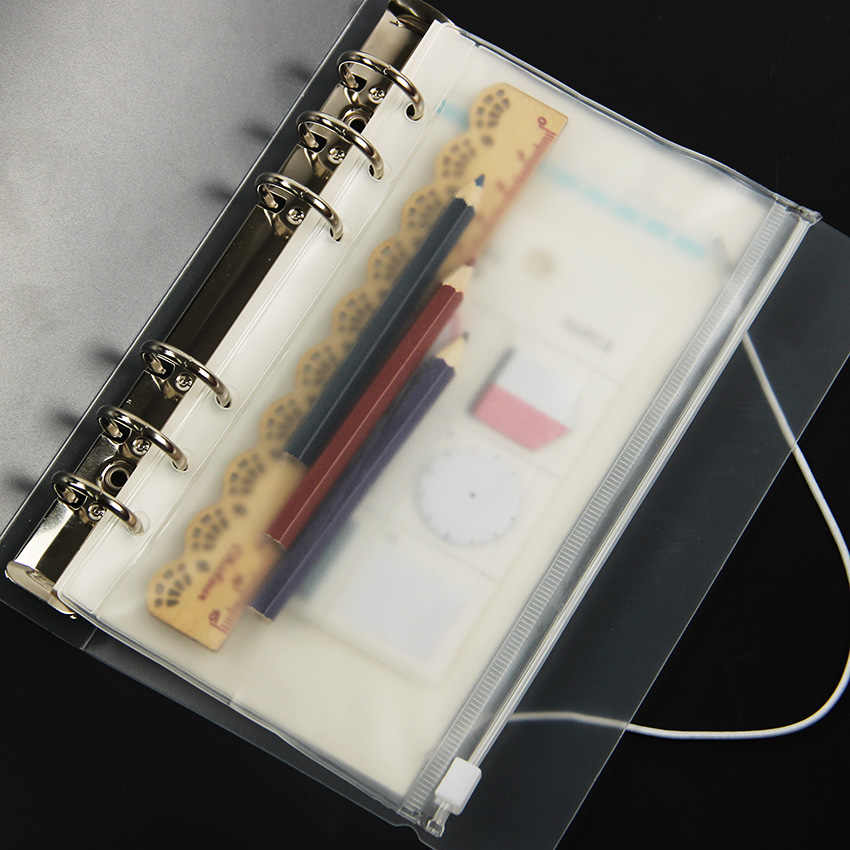 3 ピース/セット PVC 受信バッグ収納カード A5 ため A6 A7 スパイラルノートルーズリーフ日記プランナーコイルリングバインダーファイリング製品