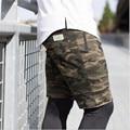 Homens de carga Shorts Camuflagem Verão Calças Curtas Casuais Calções Camou Militar Roupa Nova Homme Algodão Shorts Da Carga Dos Homens Sem Cinto