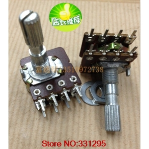 1PCS WH-148 Audio Volume Potentiometer Switch Dual 8-pin with center tap B50K B100K 25-axis(China)
