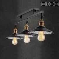 EKOO 3 Lamps E27 Industrial Mount Light Lamp Semi Flush Chandelier Kitchen Island Fixture