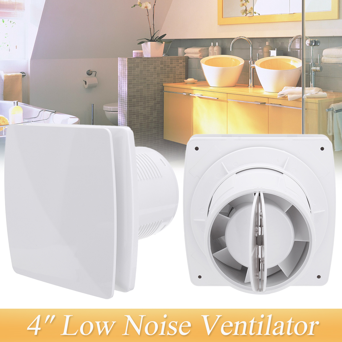 4 In Line Air Blower Ventilator 220V Low Noise Bathroom Ventilation Fan Hotel Wall Fan Silent