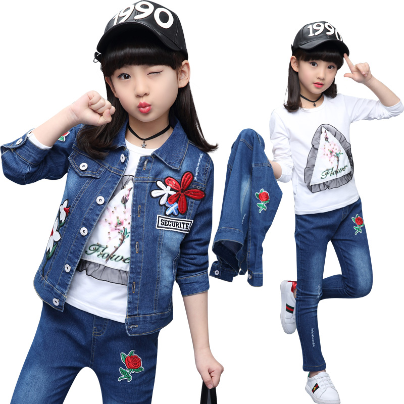 Hot spring girls, jeans, three pieces sets, 4-13 year pure cotton printed T-shirts embroidered flowers, letters jeans sets 2015 fashion baby spring three pieces suits korean printed cardigan shirts