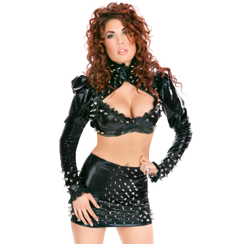 Sexy Vinyl Club Lingerie Set Hollow Out  Rivet Black Nightclub Body Suit Lack Optik Kleid mit transparentem Dekolette W850752