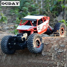 2.4G 4WD Rock Crawlers Driving Car Double Motors Drive Bigfoot Car Remote Control Car Model Off-Road Vehicle Toy EU Plug RC Car