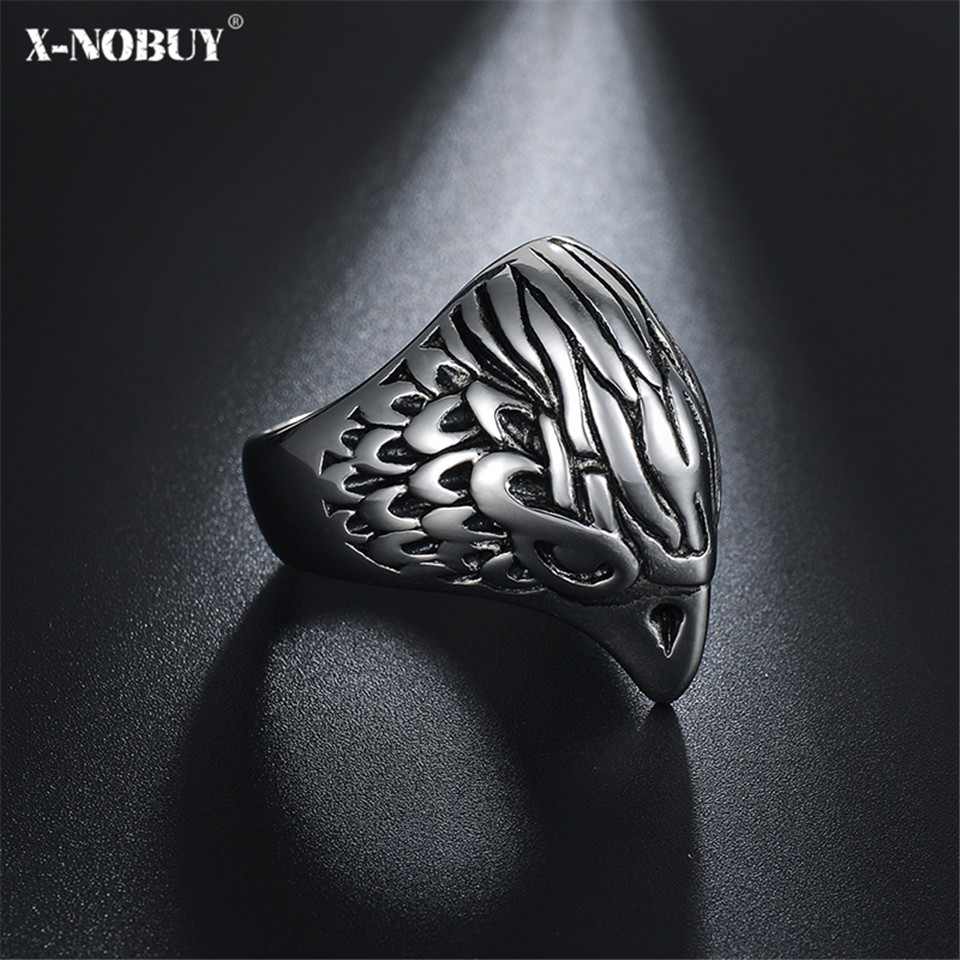 X-NO BUY Fashion Jewelry Biker Eagle Ring Mans High Quality Stainless Steel Men Punk Viking Jewellry Drop Ship Rings Wholesale ...