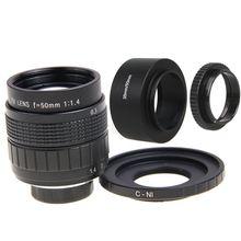 Fujian 50mm F1.4 CCTV lente Filme C + Montagem + Capa de Lente + Macro anel para nikon 1 s2 j4 j5 j3 j2 j1 v1 v2 v3 n1 AW1