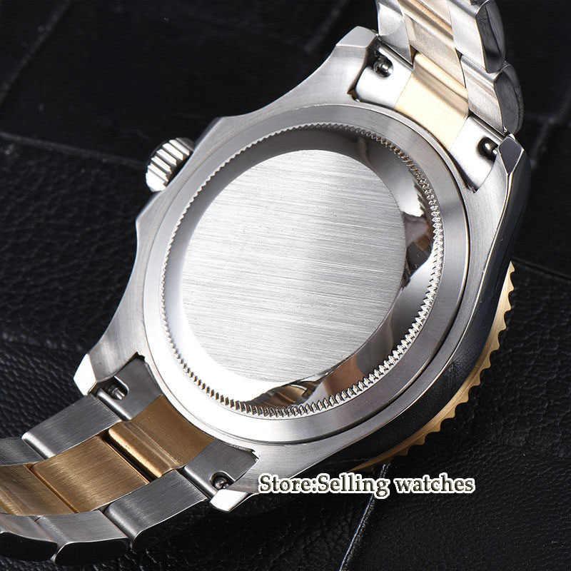 41mm parnis Quadrante Nero Cristallo di Zaffiro lunetta in ceramica Data Luminoso 21 gioielli Miyota Automatico degli uomini Meccanici della Vigilanza