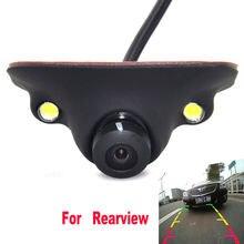 Mini câmera de backup para carro, câmera com visão frontal e dianteira de 360 graus ccd ccd câmera traseira de backup, visão lateral, 2 led