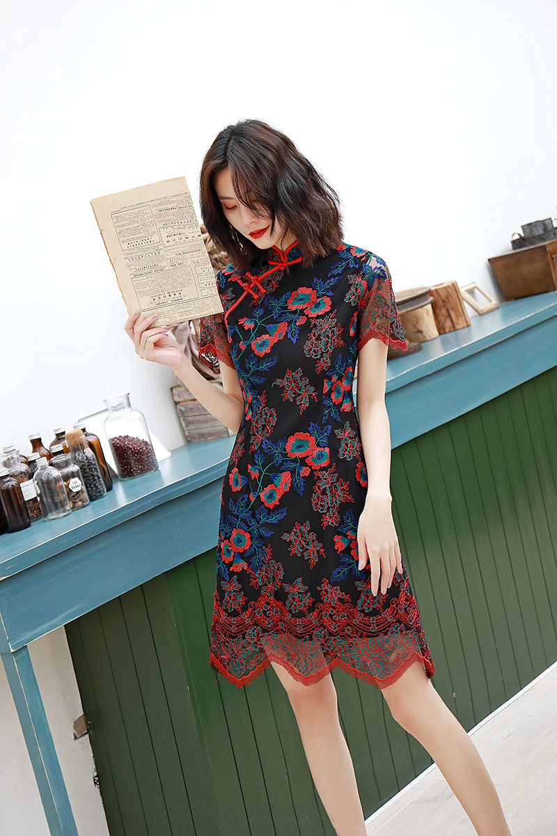 2019 summer Chinese elegant lady party dress vintage Cheongsam qipao