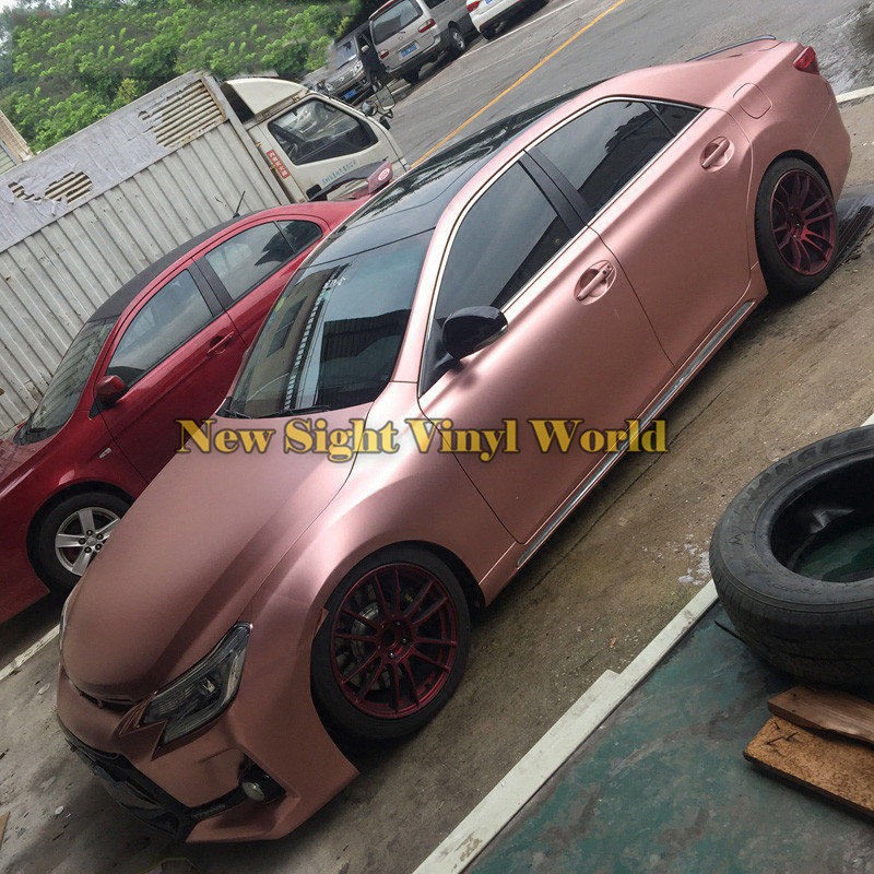 Best Quality Rose Gold Satin Chrome Car Wrap Frozen Vinyl Film Bubble Free anon маска сноубордическая anon somerset pellow gold chrome