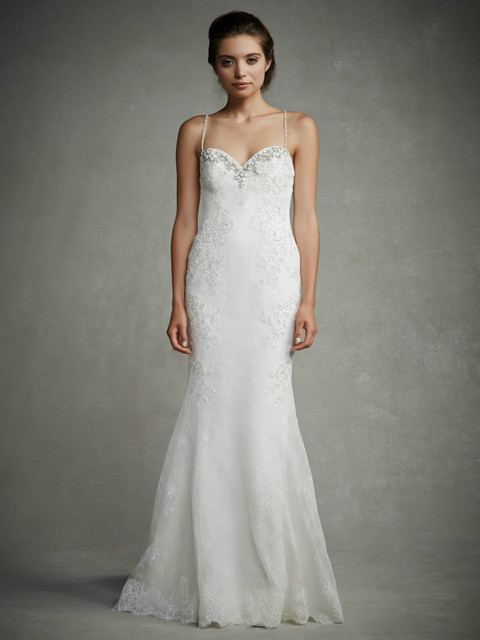 2015 lace Wedding Dresses Bridal Gowns beaded spaghetti straps ...