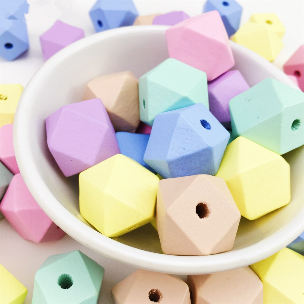 Wood Hexagon Beads 20mm 100Pcs Candy Chunky Faceted Geometric Balls Plant Holder DIY Curtain Making Crafts Kids Toys Teether