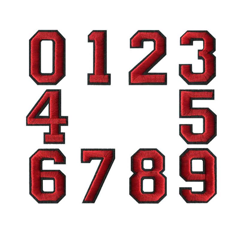 4.5 センチ高 1 ピース 0-9 赤と黒糸数字混合刺繍パッチ sew 鉄 on 装飾のための服