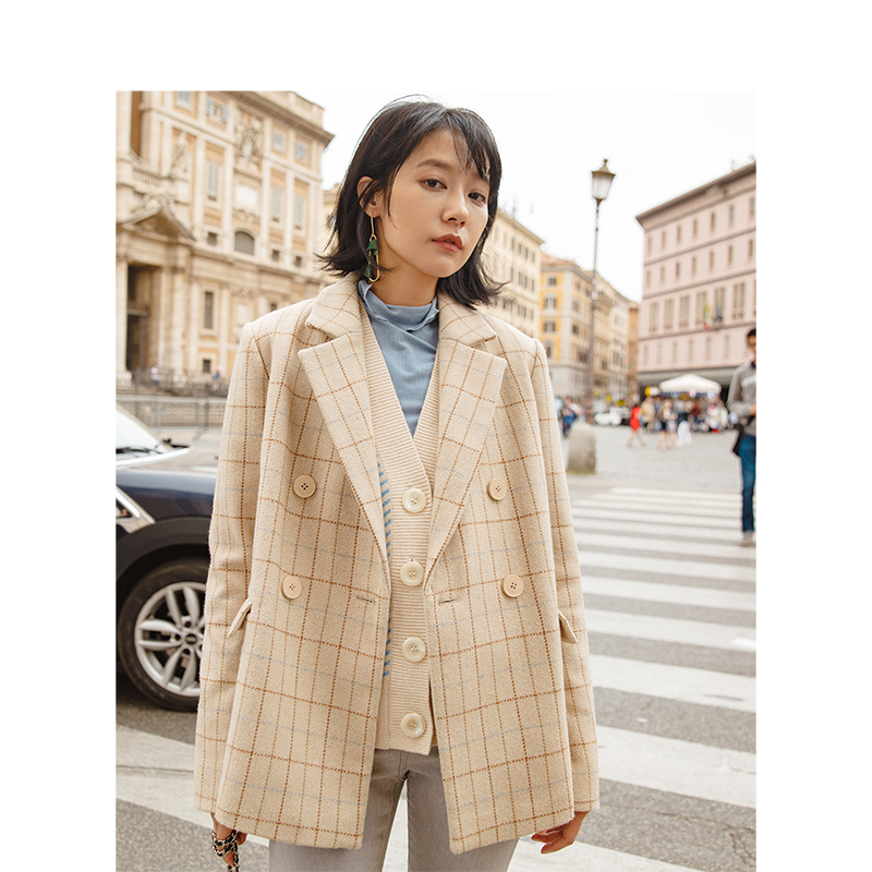 INMAN New Arrival Turn Down Collar Plaid Pattern Women Fashion Double Breast Button Short Wool Coat-in Wool & Blends from Women's Clothing    3