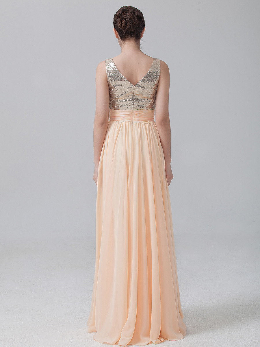 Peach Champagne V Back Long A Line Chiffon Bridesmaid Dresses with Sequin  Top Elegant Lovely Formal Dress for Bridesmaid RWB13-in Bridesmaid Dresses  from ... 9eff40305116