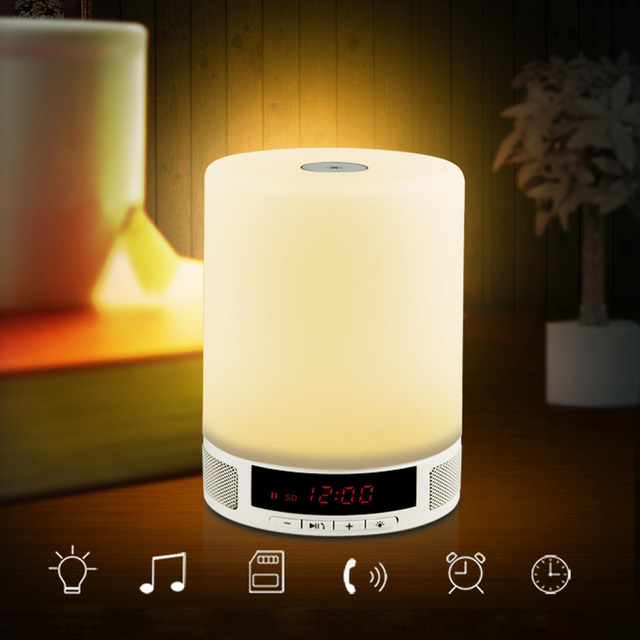 Wireless Bluetooth Speaker Music Box With Alarm Clock Touch LED Table Lamp  Night Lamp Support Call