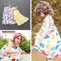 SQ244 Pouco meninas vestido de verão 2016 crianças vestido de roupas para meninas graffiti colorido impressão vestido vestido Fille Enfant