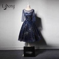 Abiye Màu Xanh Hải Quân Teal Chiều Dài Evening Formal Dress Sheer Ba Three Quarter Sleeves Beaded Evening Gowns Robe De Soiree A207