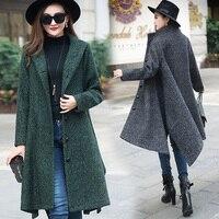 New Arrival Women Winter Wool Coat Casual Dress Elegant Ladies Stand Collar Thicken Long Woolen Trench