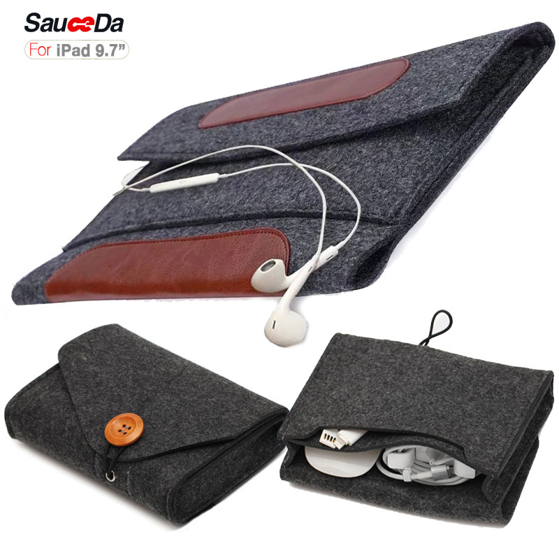For ipad 9.7 a1822 case Wool Felt Laptop Sleeve for ipad pro 9.7 inch tablet cover with Mouse Charger pouch bag for ipad air 2 high quality 10 25 4cm colorful hard netbook laptop sleeve case bag for ipad 2 3 4 5 6 sleeve bag