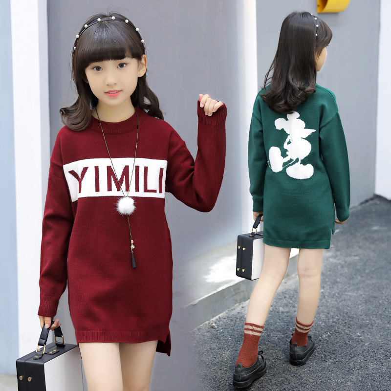 все цены на Girls Sweaters Autumn winter New Knitted Baby Girls Ribbed Sweater Kids Clothing Girls Pullover Mickey mouse 6 8 12 14 16 years онлайн
