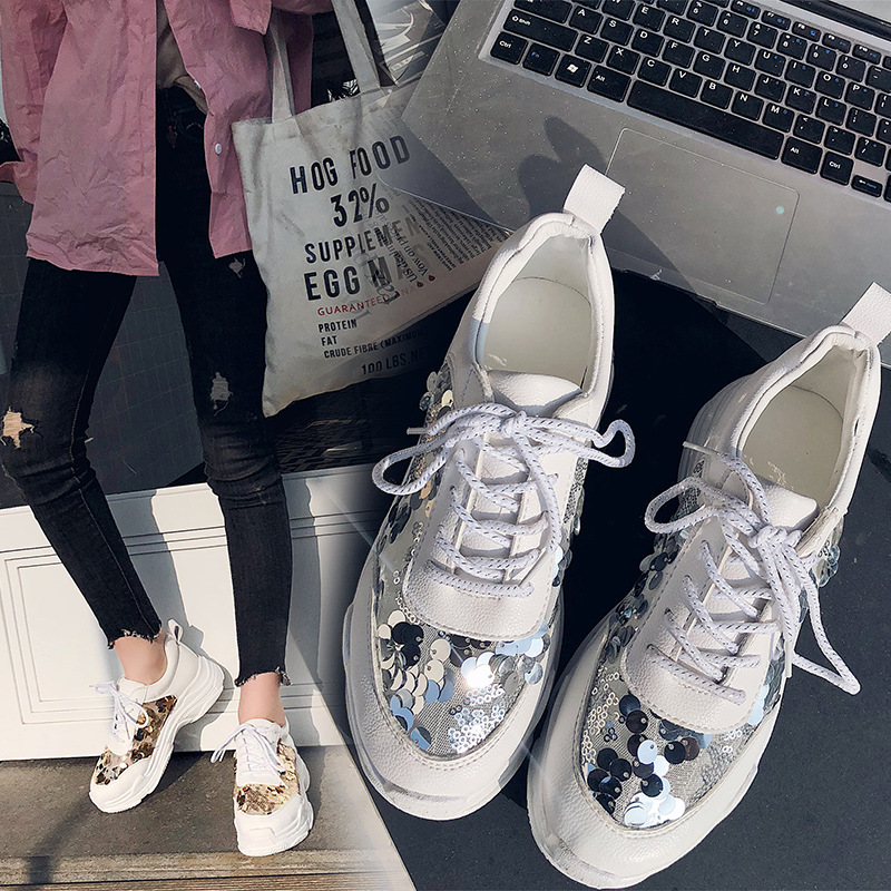 Jookrrix Casual White Shoes Women Brand Fashion Glitter Sneakers Women  Platform chaussuree Female Mesh footware Bling Breathable-in Women s  Vulcanize Shoes ... 8db32e84dac7