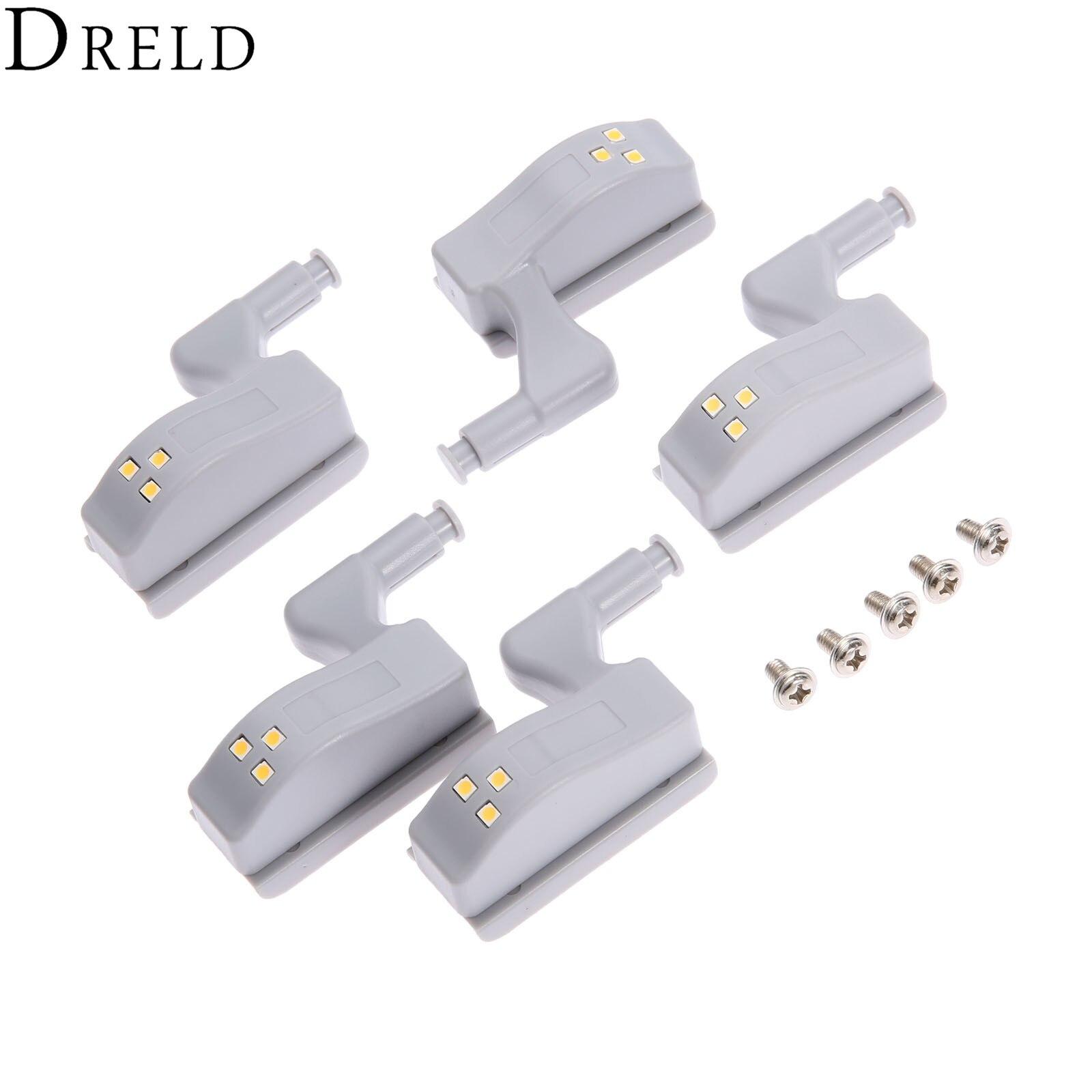 DRELD 5Pcs Universal Inner Hinge LED Sensor Cabinet Light For Kitchen Bedroom Living Room Cupboard Wardrobe Closet Hinge Light