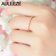 AULEEZE Real Natural Diamond Wedding Band 18K Solid Rose Gold Matching Wedding Rings Romantic Five Stone Gold Anniversary Ring