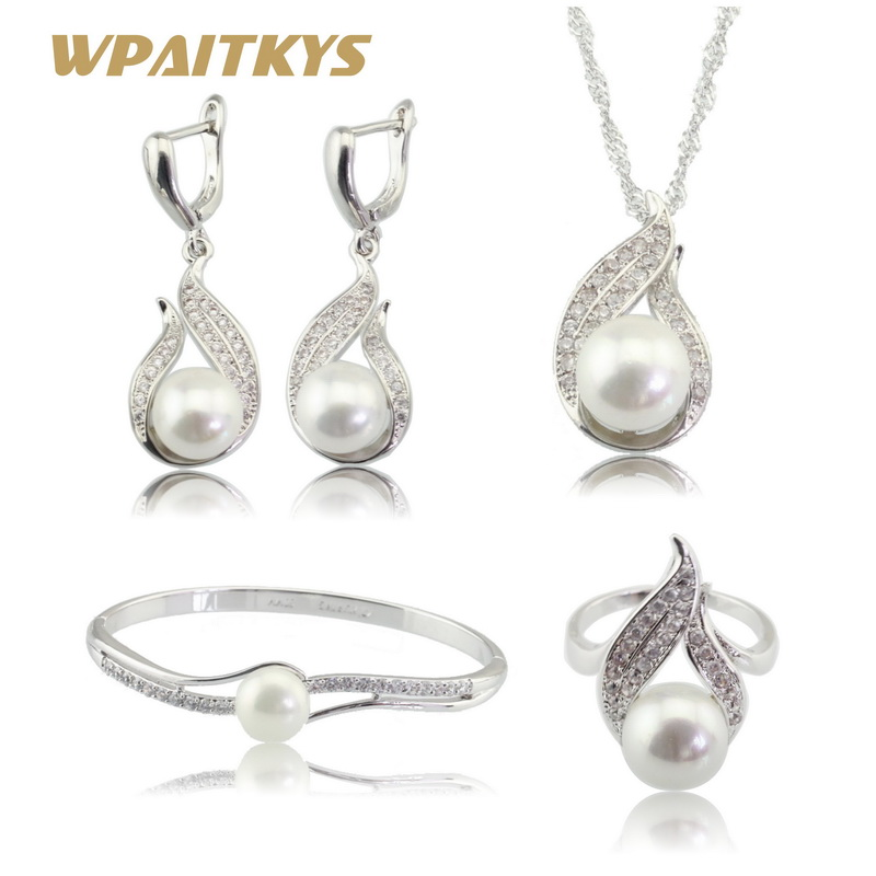 WPAITKYS White Simulated Pearl Silver Color Jewelry Sets For Women Earrings Necklace Pendant Bracelets Rings Free Gift BoxWPAITKYS White Simulated Pearl Silver Color Jewelry Sets For Women Earrings Necklace Pendant Bracelets Rings Free Gift Box