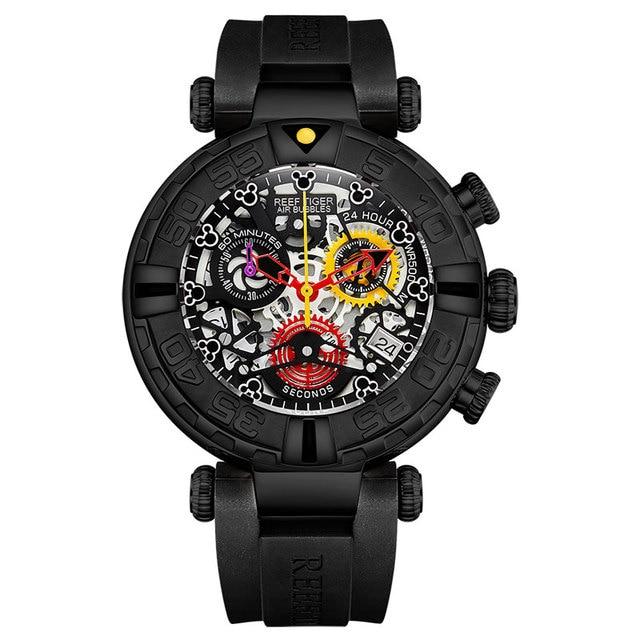 Reef Tiger/RT New Design Top Brand Men Watches Rubber Strap Steel Skeleton Sport Quartz Waterproof Watch Montre Homme RGA3059-S   Fotoflaco.net