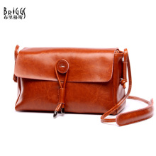 BRIGGS Casual Flap Bag Women Messenger Bags Genuine Leather Handbag Famous Brands Luxury Women Bag Designer Vintage Shoulder Bag luxury women genuine leather messenger bags sheepskin handbags lady famous brands designer handbag shoulder back bag sac ly157