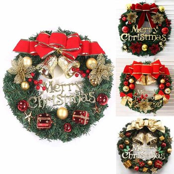 30cm Beautiful Hanging Christmas Wreath Garland Ball Cone 4 Colors