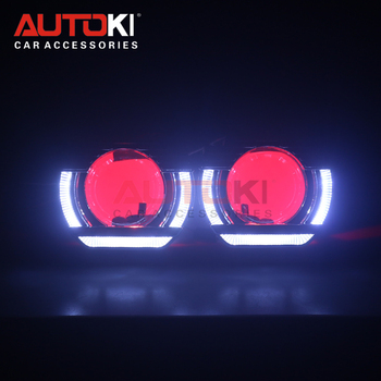 AUTOKI 2018 FLATBOY 2.5 led shroud with devil eye full metal 2.5inch H1 Bi-xenon Projectors lens for H4 H7 9005 headlight SOCKET