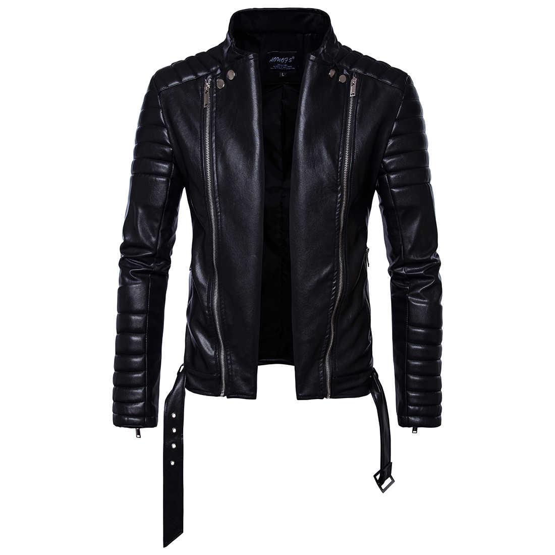 Новые осенние мужские кожаные мотоциклетные пояса шнурком Пальто  Повседневная кожаная куртка мужская куртка раза рукав двойная 298c908c7b7