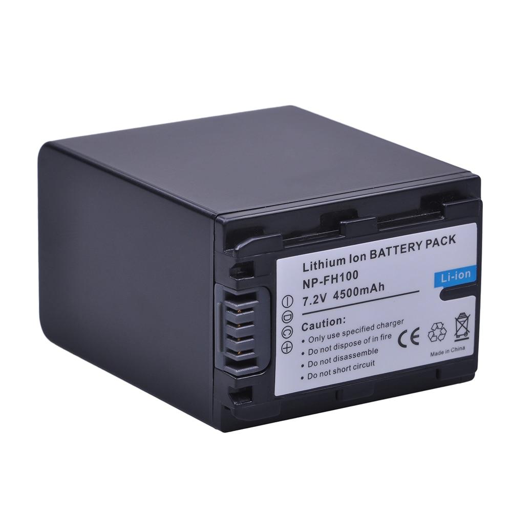 Tüketici Elektroniği'ten Dijital Piller'de 1 adet 4500mAh NP FH100 NP FH100 FH100 pil Sony DCR SX40 SX40R SX41 HDR CX105 FH90 FH70 FH60 FH40 FH30 FP50 SR42E SR45E title=