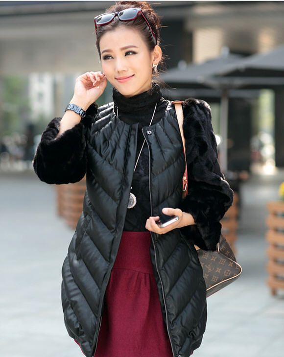 2013 winter slim thick warm short/medium long fur sleeve patchwork pu leather cotton padded coat wadded jacket women M-XXL D2126