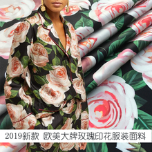2019 new European and American style big rose high quality digital printing apparel fabric handmade DIY fashion polyester