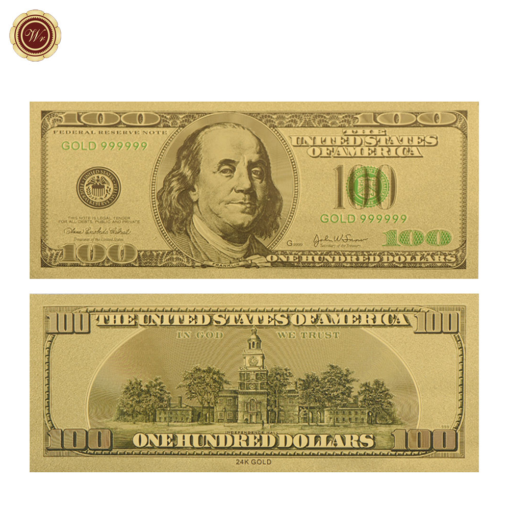 WR US Old Paper Money USD 100 Home Decorative Gold Banknote American Fake Bills 24k Gold Money Crafts for Home Cllection