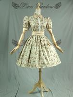 מקורי פאף שרוול פרחוני פופלין מורי הילדה מודפסת כותנה נשים רטרו וינטג שמלות לוליטה אירופה סגנון vestido