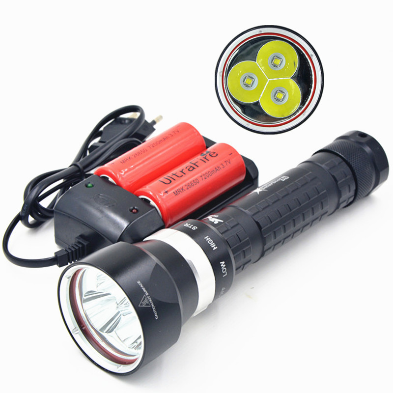 2014 SolarStorm 5000LM 3xCree U2 LED Diving Flashlight Torch 26650 18650 Lamp with Battery&Charger nautical wheel chaise lounge finish sand