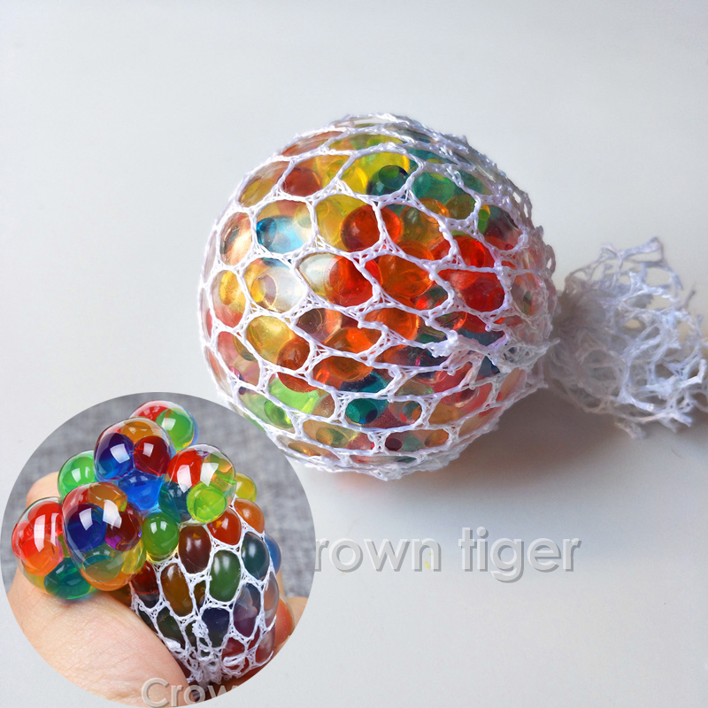 Rainbow Funny Anti Stress Ball Toy Novetly Squeeze Ball Hand Wrist Exercise Stress Reliever Toy Squishy Mesh Ball Decompression