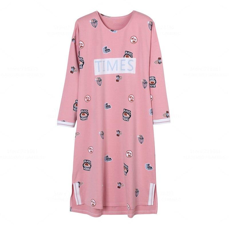 Brand 100% Cotton   Nightgown   Women Nightdress Femme Sleepwear Big Version   Nightgowns   Lady   Sleepshirts   Dress Lounge Home Clothing