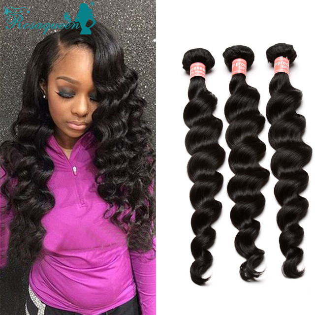 Loose Wave Hair Bundles 3pcs Malaysian Virgin Hair Extensions 100% Malaysian Human Hair Weave Bundles Rosa Queen Hair Products
