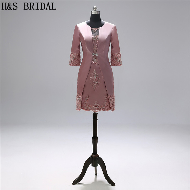 H S BRIDAL Mother of the bride dresses with Jacket Satin Appliques Elegant women formal dress
