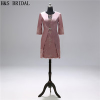 H&S BRIDAL Mother of the bride dresses with Jacket Satin Appliques Elegant women formal dress mother evening dress