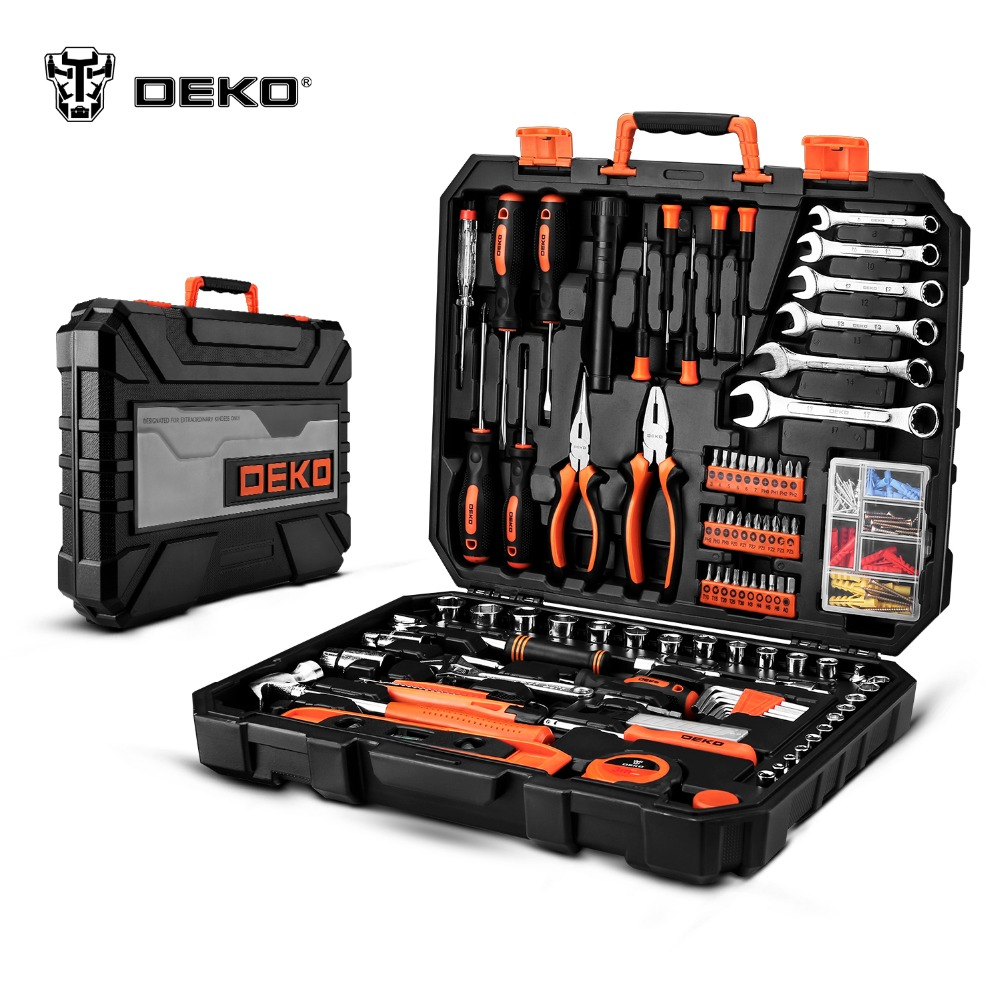 Set of tools DEKOPRO DKMT208 Combination Metalworking With Case 150pcs case 0 4 3 2mm mini drill bit set hss microtech power tools small precision twist drilling kit with case plastic box