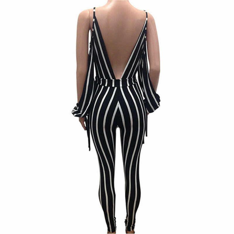 2019 seksowne kobiety w paski kombinezony Clubwear bez ramiączek głębokie dekolt w serek pasek pajacyki Backless Bodycon Lady kombinezony z paskiem