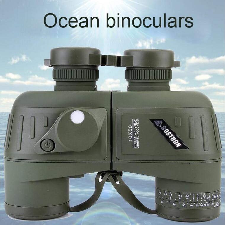 Katonai távcsövek 10x50 professzionális tengeri binokuláris vízálló digitális iránytű vadászati teleszkóp Nagy teljesítményű éjszakai látás